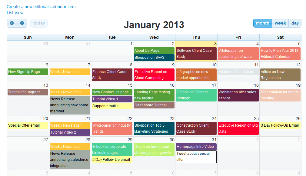 Example of Editorial Calendar from CB