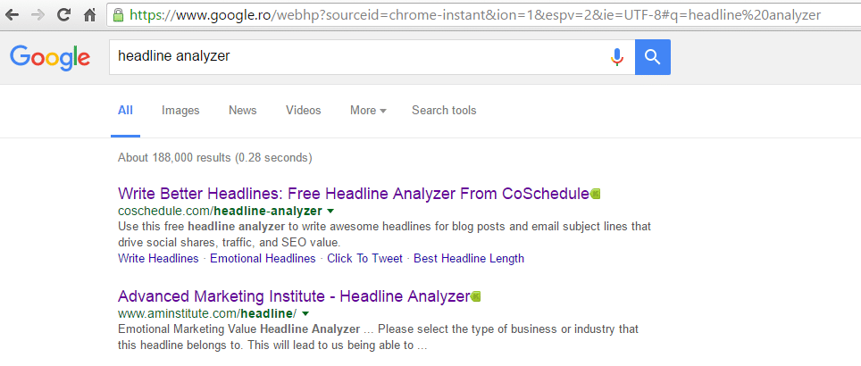 Google search headline analyzer