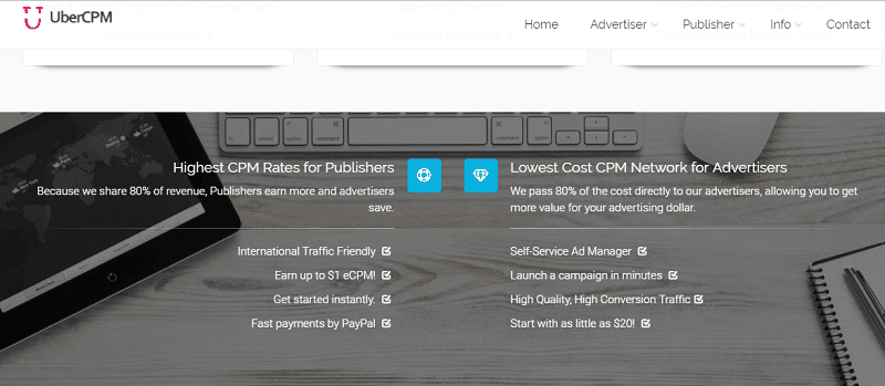 UberCPM home page pay per impression