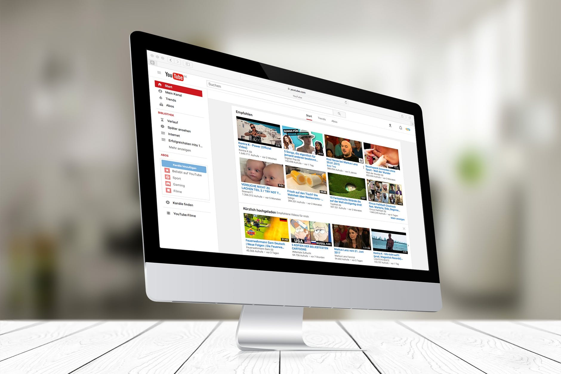 youtube site open in a silver imac