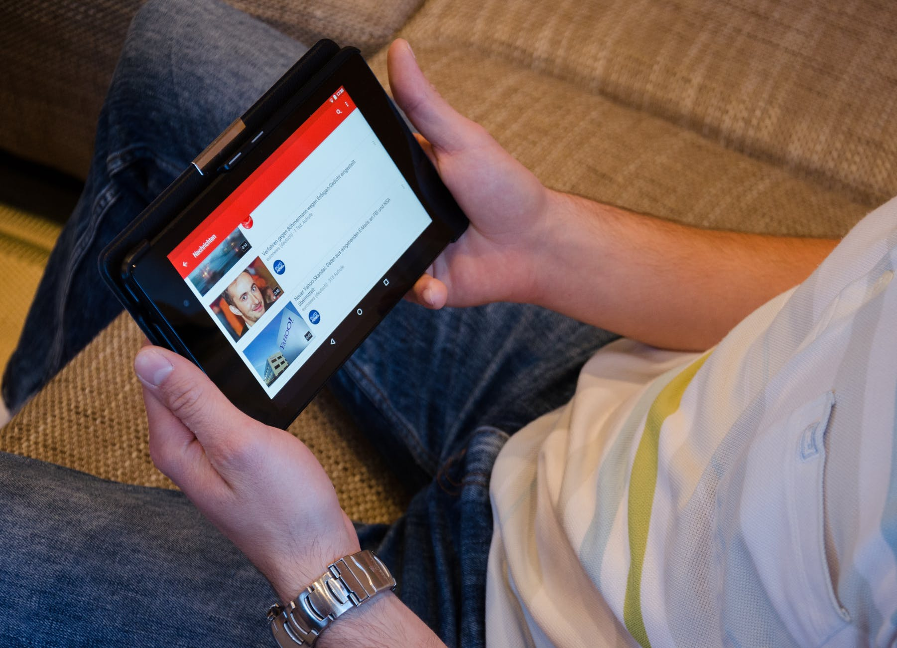 showing youtube site on a tablet