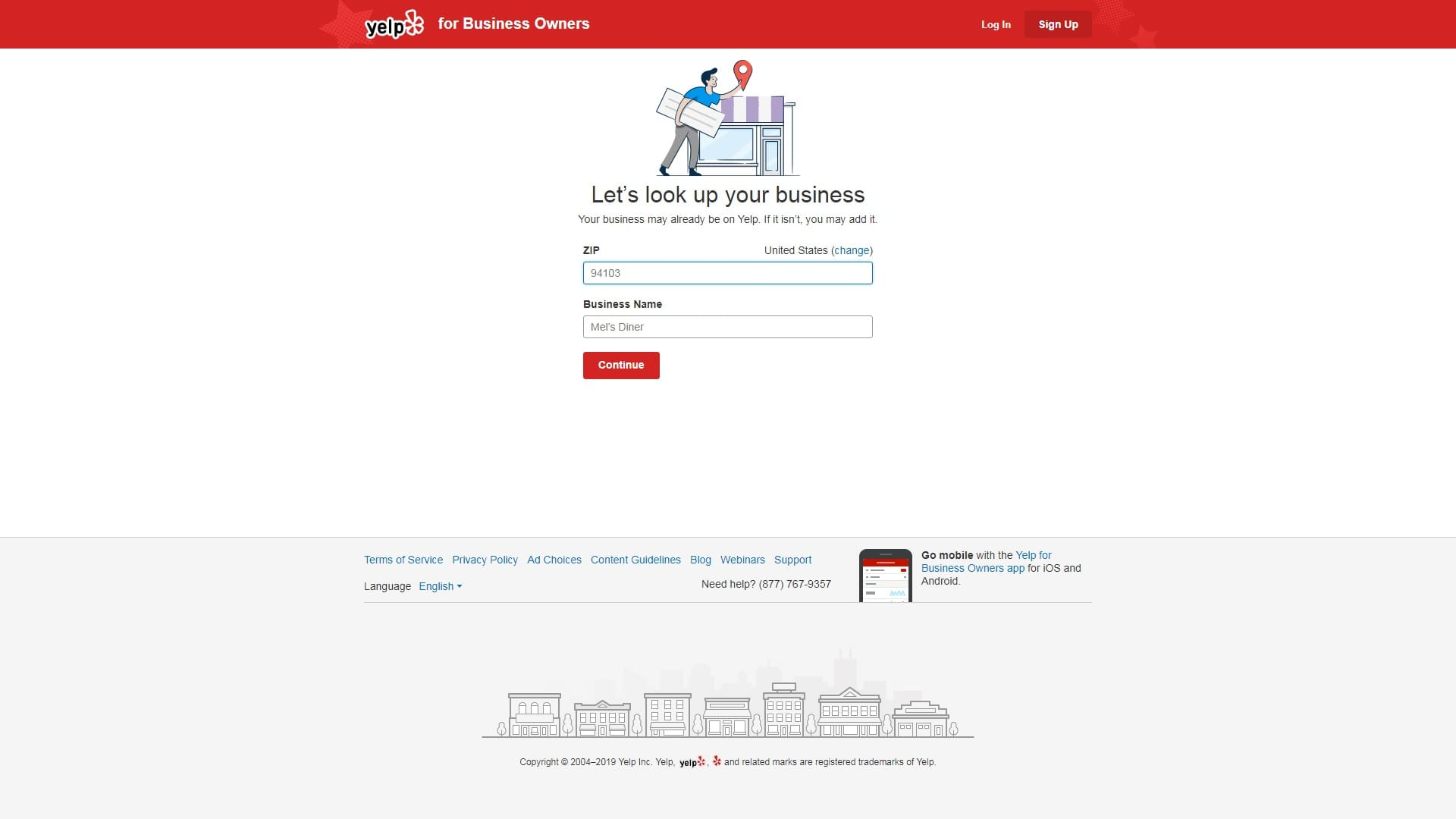 Screenshot of Yelp Business