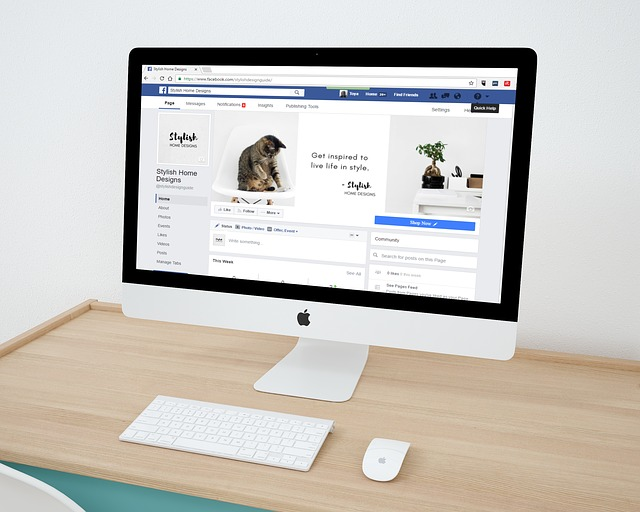 Facebook page on a mac with cover photo