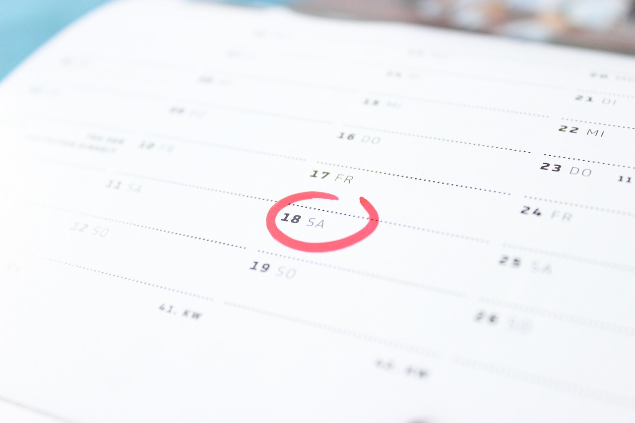 a calendar with encircled weekend